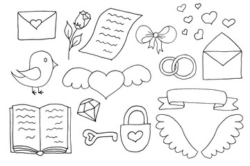 Hand drawn vector set with romantic cute elements. Illustration with hearts, bird, flower in doodle style. Valentine day