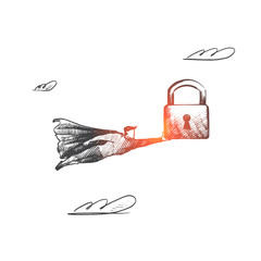 Security concept. Hand drawn superhero with big lock in his hand. Flying hero holds symbol of protection isolated vector illustration.