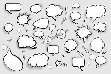 Blank speech bubbles. Set of comic speech bubbles with shadows. Vector illustration