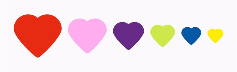 The set of different colored in a rainbow colors shape of hearts