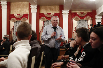 Leader of the Liberal Democratic Party of Russia and presidential candidate Zhirinovsky speaks during a meeting with youth at the Tula State University in Tula