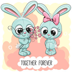 Cute Cartoon Rabbits boy and girl