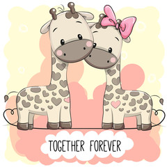 Cute Cartoon Giraffes boy and girl