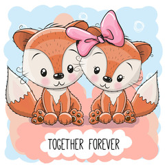 Cute Cartoon Foxes boy and girl