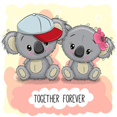 Cute Cartoon Koalas boy and girl