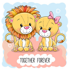 Cute Cartoon Lions boy and girl