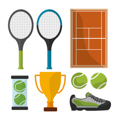 tennis sport equipment trophy court icons vector illustration