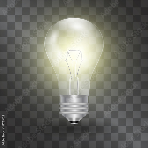 Electric Light Bulb Vector Realistic Illustration Warm Glowing