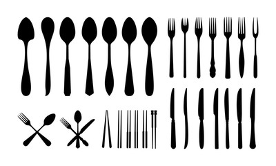 set of Cutlery Icon Silhouette, Spoon Fork Knife and Chopsticks silhouette vector illustration
