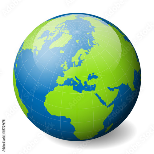 Earth globe with green world map and blue seas and oceans focused on earth globe with green world map and blue seas and oceans focused on europe with gumiabroncs Images