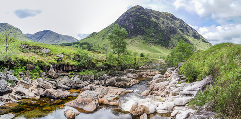 Ston mor mountain with river Etive in foreground