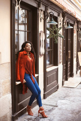 Portrait of a beautiful black woman in stylish clothes