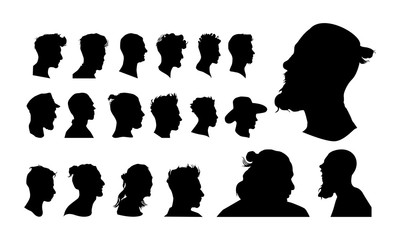 set of detailed man head avatar face silhouette vector illustration