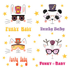 Set of hand drawn portraits of cute funny cartoon animals in funky hats and glasses, with typography. Isolated objects on white background. Vector illustration. Design concept for children.