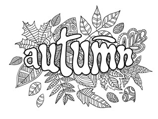 Autumn banner in doodle style.