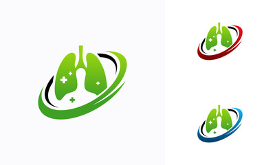 Lungs Care Iconic logo designs vector, Lungs Logo template