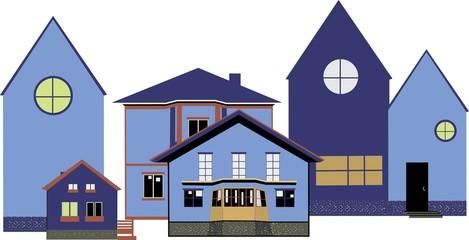 cozy blue houses