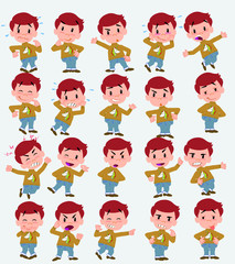 Cartoon character white boy with a unicorn pullover. Set with different postures, attitudes and poses, doing different activities in isolated vector illustrations.