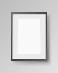 Realistic empty rectangular black frame with passepartout on gray background, border for your creative project, mock-up sample, vector design object