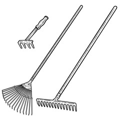 Rake illustration, drawing, engraving, ink, line art, vector