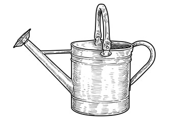 Watering can illustration, drawing, engraving, ink, line art, vector
