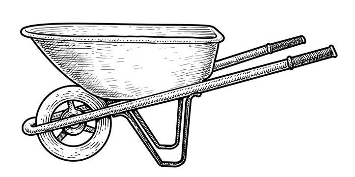 Wheelbarrow illustration, drawing, engraving, ink, line art, vector