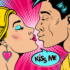 Wow couple. Happy young man and sexy woman in profile stretch to each other for a kiss and Kiss me speech bubble. Vector background in retro pop art comic style. Valentines day invitation poster.