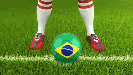 Man and soccer ball  with Brazilian flag
