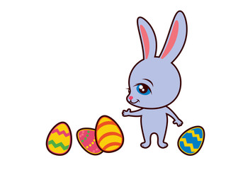 Easter bunny with eggs vector. Easter bunny on a white background. Rabbit cartoon character