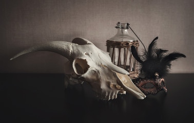 Still life with ram skull, mask and old bottle on dark