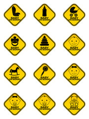 Set of Baby on board signs with baby symbol in yellow rhombus on a white background. Car sticker with warning.