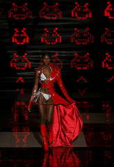 A model presents a creation by Sarda during the Mercedes-Benz Fashion Week in Madrid
