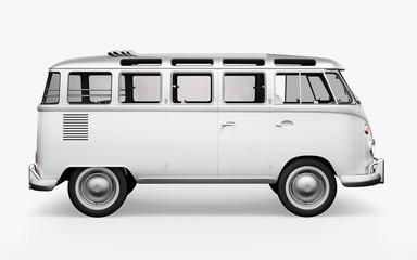 3D render hippie bus on white background