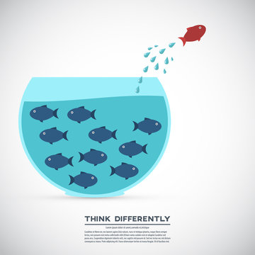 Think different business concept illustration, fish jumping outside the aquarium. New idea, change, trend, courage, creative solution, innovation and unique way concept.