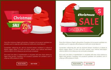 Sale Emblems and Santa Claus Hats on Promo Labels