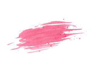 Hand painted pink watercolor brush texture with splashes isolated on the white background. Usable for cards, invitations and more.