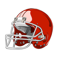 American football helmet red colour vector illustration