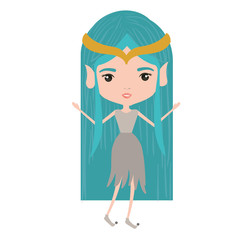 elf princess fantastic characters on white background vector illustration