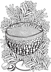 Glass with soda or lemonade. Adult Coloring book page. A4 size. Christmas decoration. Hand-drawn vector illustration. Black and white Pattern for coloring book. Zentangle.
