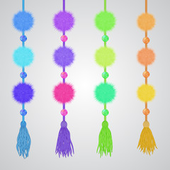 Pompon and tassels hanging vector garland. Textile fluffy decor for birthday celebrations, carnivals, kid's parties isolated on white. Cute embellishment for baby's room, toddler goods ads.
