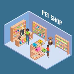 Pet shop cutaway interior vector flat isometric illustration