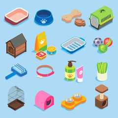 Pet store vector flat isometric icon set
