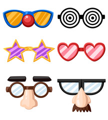 Set of funny glasses masks star heart nose clown mustache vector illustration isolated on white background website page and mobile app design