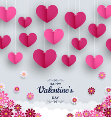 Happy Valentine Day background. Good design template for banner, greeting card, flyer. Paper art flowers and hearts. Vector illustration.