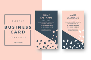 Trendy minimal abstract business card template. Modern corporate stationery id layout with artistic brush pattern. Vector fashion background design with information sample name text.