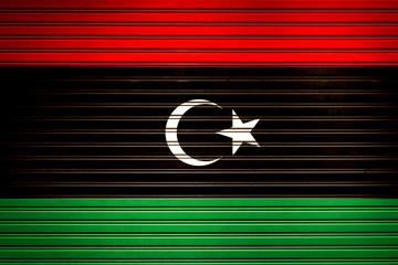 Libya Northern Africa Flag sign in iron garage door texture, flag background