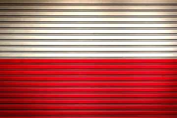 Poland Eastern Europe Flag sign in iron garage door texture, flag background