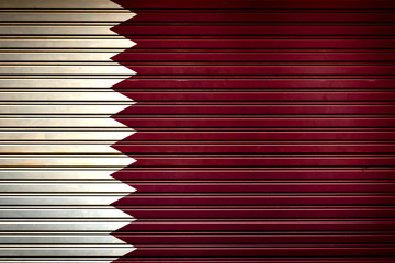 Qatar Middle East Flag sign in iron garage door texture, flag background