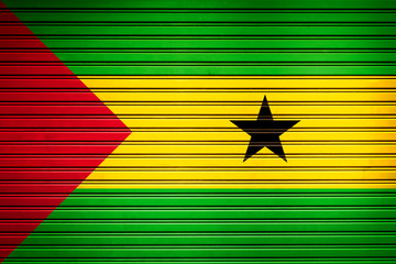 Sao Tome and Principe Central Africa Flag sign in iron garage door texture, flag background