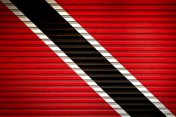Trinidad and Tobago Caribbean Flag sign in iron garage door texture, flag background